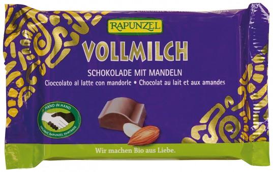Bio Vollmilch Schokolade mit ganzen Mandeln, 100 g