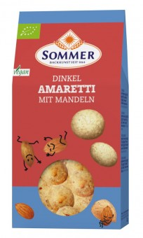 Bio Dinkel Amaretti mit Mandeln, 125 g