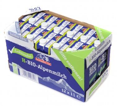 Haltbare Bio-Alpenmilch laktosefrei 1,5%, 12x1 l