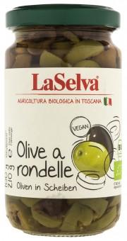 Bio Olive a rondelle, grüne und schwarze Oliven in Scheiben, 210 g