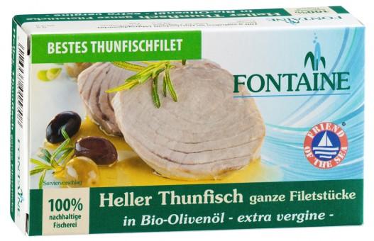 Bio Thunfisch hell in Olivenöl, 120 g