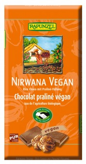Bio Nirwana Vegan Schokolade Rice Choco mit Praliné-Füllung, 100 g