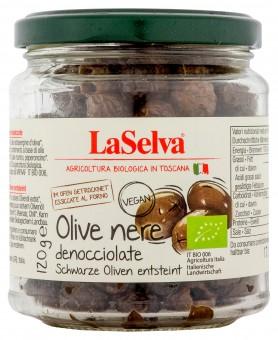 Bio olive nere denocciolate, schwarze getrocknete Oliven entsteint, 120 g