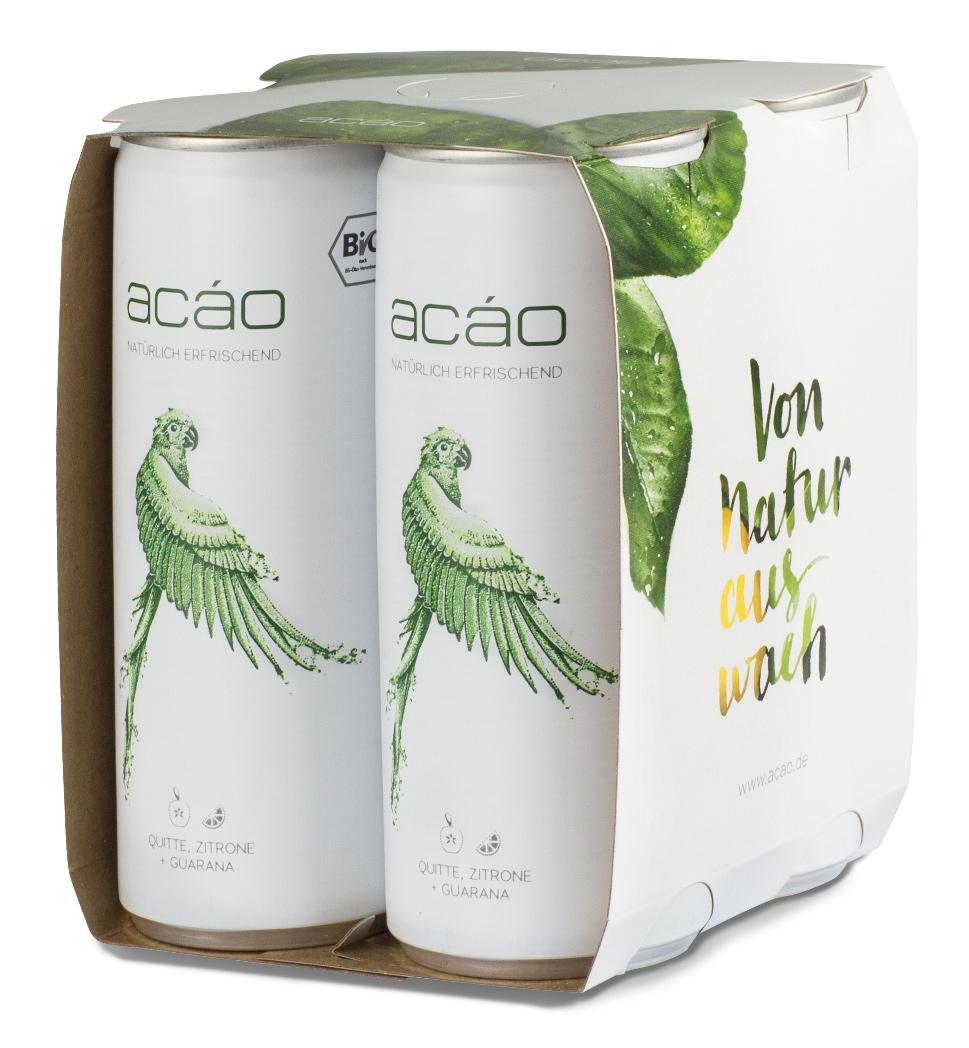 Bio acáo Erfrischungsgetränk, mit natürlichem Koffein, 4-Pack (4 x 250 ml) inkl. Pfand (4 x 0,25 €)
