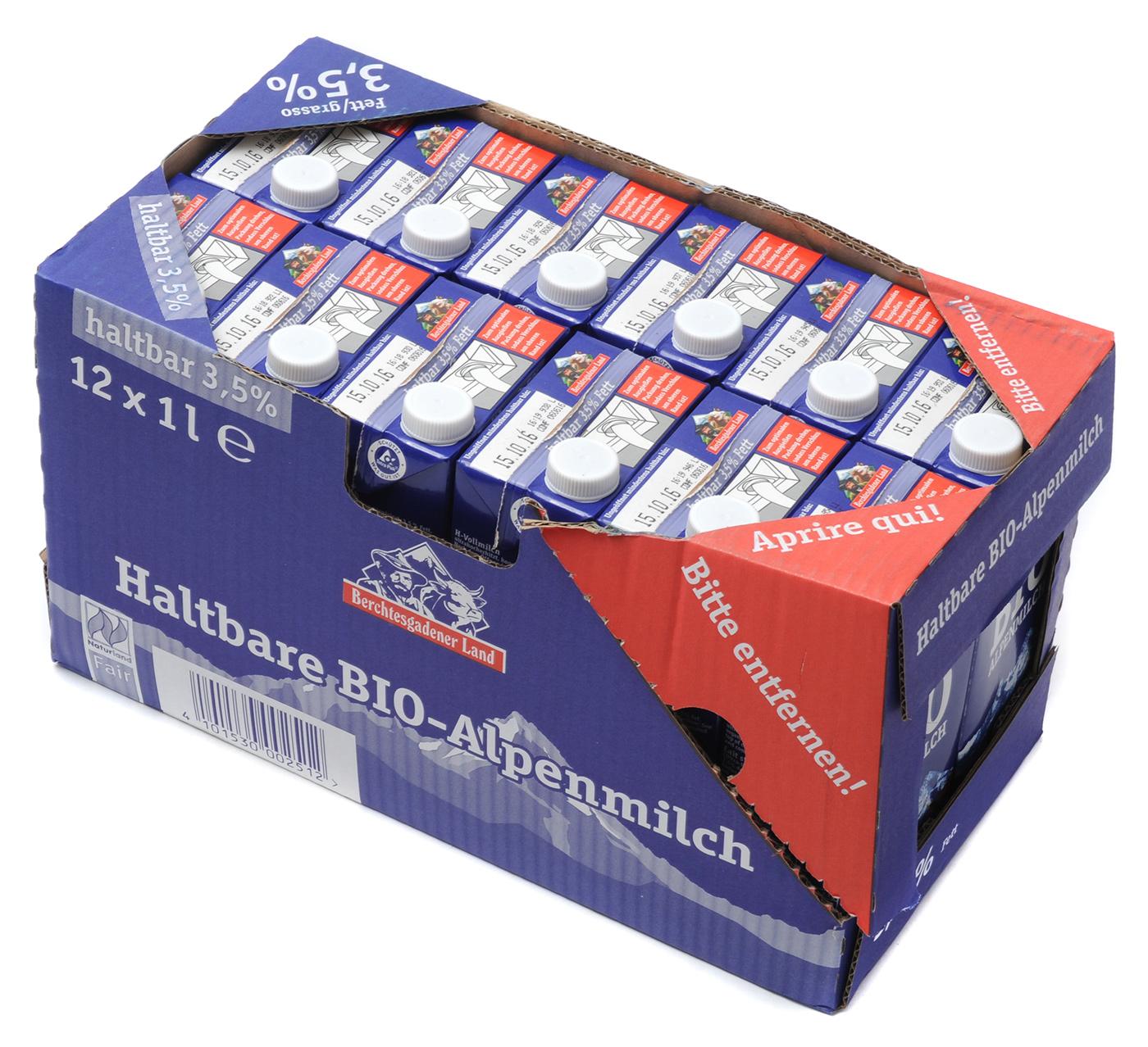 Haltbare Bio-Alpenmilch 3,5%, 12 x 1 l