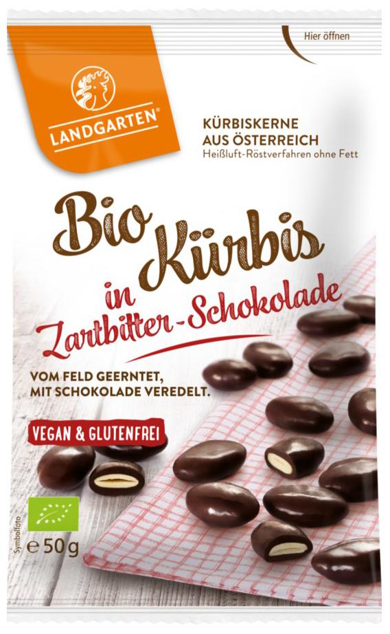 Bio Kürbis in Zartbitter-Schokolade, 50 g